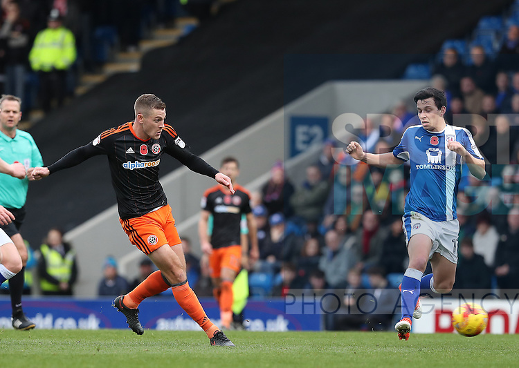 Paul Coutts of Sheffield Utd has a shot during the English Football League One match at Proact Stadium, Chesterfield. Picture date: November 13th, 2016. Pic Jamie Tyerman/Sportimage