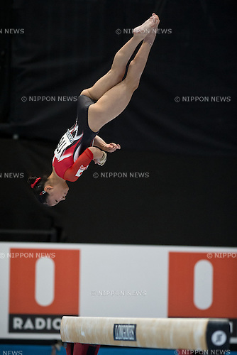 Asuka Teramoto (JPN), OCTOBER 2, 2013 - Artistic Gymnastics : Asuka Teramoto of Japan competes on the balance beam during a qualification session at the 2013 World Artistic Gymnastics Championships at Antwerps Sportpaleis (Antwerp's Sport Palace), Antwerp, Belgium. (Photo by Enrico Calderoni/AFLO SPORT)