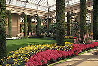 AJ3450, Longwood Gardens, conservatory, Brandywine River Valley, Kennett Square, Pennsylvania, Garden of pink and yellow flowers in the Main Conservatory at Longwood Gardens in Kennett Square in Brandywine Valley in the state of Pennsylvania.