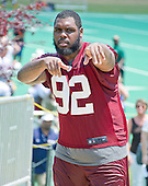 Washington Redskins defensive end Chris Baker (92) poses for the cameras as he leaves the field following an organized team activity (OTA) at Redskins Park in Ashburn, Virginia on Wednesday, June 1, 2016.<br /> Credit: Ron Sachs / CNP