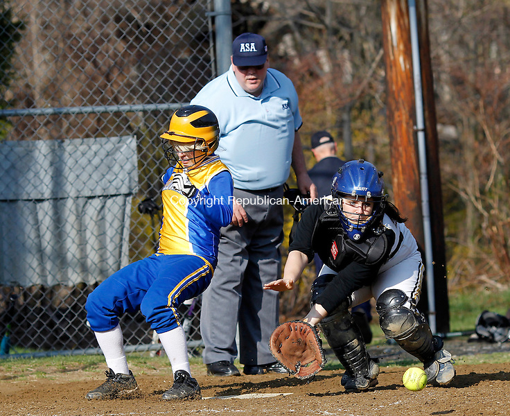Winsted, CT- 25, April 2011-042511CM12 Gilbert's Nichole Crossman scores a run as Thomaston's Olivia Conlon goes into catch a late throw Monday afternoon at Walker Field in Winsted.  Gilbert won, 8-6.  Christopher Massa Republican-American