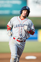 Herlis Rodriguez (33) of the Lakewood BlueClaws rounds the bases after hitting a home run to lead off the game against the Kannapolis Intimidators at Intimidators Stadium on July 16, 2015 in Kannapolis, North Carolina.  The BlueClaws defeated the Intimidators 3-1.  (Brian Westerholt/Four Seam Images)