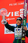 HOLMENKOLLEN, OSLO, NORWAY - March 17: Sara Takanashi of Japan (JPN) celebrates her trophy during the FIS Ski Jumping World Cup Ladies Overall the prize giving ceremony for the season 2012/2013 at the FIS Ski Jumping World Cup from the large hill HS 134 Holmenkollbakken on March 17, 2013 in Oslo, Norway. 1st place Sara Takanashi of Japan (JPN), 2nd place Sarah Hendrickson of USA and 3rd place Coline Mattel of France (FRA). (Photo by Dirk Markgraf)