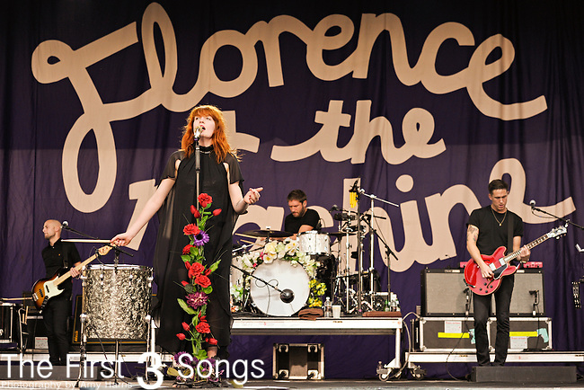 Mark Saunders, Florence Welch, Chris Hayden, and Robert Ackroyd of Florence and the Machine perform during the 2010 Voodoo Experience in New Orleans, Louisiana.