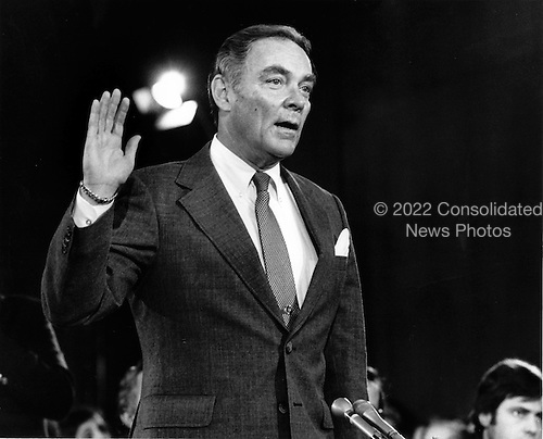 "General Alexander Haig (United States Army, ret.), U.S. President-elect Ronald Reagan's nominee to be U.S. Secretary of State is sworn-in to testify during confirmation hearings on his nomination before the United States Senate Foreign Relations Committee on January 9, 1981..Credit: Benjamin E. ""Gene"" Forte / CNP"