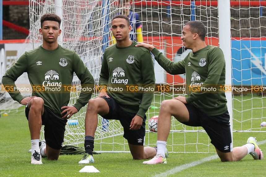 Everton's Mason Holgate (left) and Brendan Galloway (middle) pre-match during Chelsea Under-21 vs Everton Under-21, Barclays U21 Premier League Football at the EBB Stadium on 2nd May 2016