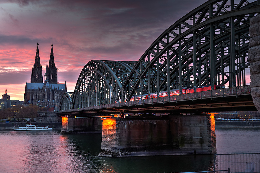 Cologne Cathedral and Hohenzollern Bridge over Rhine River, Cologne, Germany, Europe