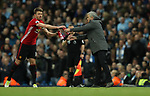 Jose Mourinho manager of Manchester United and Michael Carrick of Manchester United during the English Premier League match at The Etihad Stadium, Manchester. Picture date: April 27th, 2016. Photo credit should read: Lynne Cameron/Sportimage