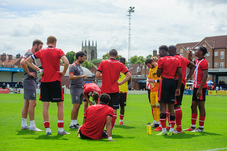 Lincoln City manager Danny Cowley speaks to his players after the game<br /> <br /> Photographer Chris Vaughan/CameraSport<br /> <br /> Football Pre-Season Friendly (Community Festival of Lincolnshire) - Lincoln City v Lincoln United - Saturday 6th July 2019 - The Martin & Co Arena - Gainsborough<br /> <br /> World Copyright © 2018 CameraSport. All rights reserved. 43 Linden Ave. Countesthorpe. Leicester. England. LE8 5PG - Tel: +44 (0) 116 277 4147 - admin@camerasport.com - www.camerasport.com