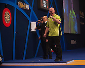 01.01.2014.  London, England.  William Hill PDC World Darts Championship.  Quarter Final Round.  Michael van Gerwen (1) [NED] celebrates a winning leg in his match with Robert Thornton (9) [SCO]