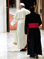 Papa Francesco incontra i dipendenti delle acciaierie di Terni in Aula Paolo VI, Citta' del Vaticano, 20 marzo 2014.<br /> Pope Francis leaves after meeting Terni steel factory workers in the Paul VI hall at the Vatican, 20 March 2014.<br /> UPDATE IMAGES PRESS/Riccardo De Luca<br /> <br /> STRICTLY ONLY FOR EDITORIAL USE