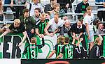 Stockholm 2014-06-18 Fotboll Superettan Hammarby IF - GAIS :  <br /> GAIS supportrar jublar med GAIS Asgeir Asgeirsson och Joel Johansson efter matchen<br /> (Foto: Kenta J&ouml;nsson) Nyckelord:  Superettan Tele2 Arena Hammarby HIF Bajen GAIS jubel gl&auml;dje lycka glad happy