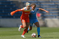 Bridgeview, IL - Saturday May 06, 2017: Rachel Daly, Danielle Colaprico during a regular season National Women's Soccer League (NWSL) match between the Chicago Red Stars and the Houston Dash at Toyota Park. The Red Stars won 2-0.
