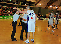 Ginats guard Phill Jones complains to umpires after a scuffle. NBL  - Manawatu Jets  v Nelson Giants at Arena Manawatu, Palmerston North, New Zealand on Saturday, 25 June 2011. Photo: Dave Lintott / lintottphoto.co.nz