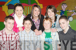 VARIETY FINALS: Member's of the Listry youth club who took part in the KDYS Regional Variety Finals at the CBS NS, Tralee on Saturday front l-r: Kieran Brosnan, Brian Kennedy, Conor O'Sullivan and Joe Clifford. Back l-r: Joanne Browne, Aoife O'Mahony and Aoife Murphy..
