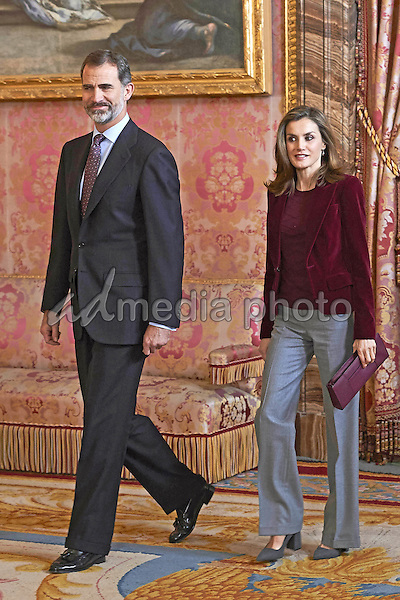 14 December 2016 - Madrid, Spain - Queen Letizia and King Felipe during the meeting with the Patronato of the Princesa of Girona foundation at the royal palace. Photo Credit: PPE/face to face/AdMedia