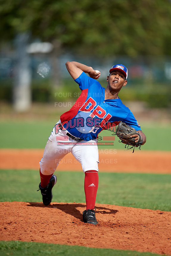 Jeremy Concepcion (13) during the Dominican Prospect League Elite Florida Event at Pompano Beach Baseball Park on October 14, 2019 in Pompano beach, Florida.  Jeremy Concepcion (13).  (Mike Janes/Four Seam Images)
