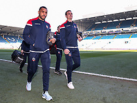 Bolton Wanderers' Josh Magennis and Jack Hobbs arriving at the stadium<br /> <br /> Photographer Andrew Kearns/CameraSport<br /> <br /> The EFL Sky Bet Championship - Leeds United v Bolton Wanderers - Saturday 23rd February 2019 - Elland Road - Leeds<br /> <br /> World Copyright © 2019 CameraSport. All rights reserved. 43 Linden Ave. Countesthorpe. Leicester. England. LE8 5PG - Tel: +44 (0) 116 277 4147 - admin@camerasport.com - www.camerasport.com