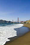San Francisco: Baker Beach with Golden Gate Bridge in background.  Photo # 2-casanf83765.  Photo copyright Lee Foster