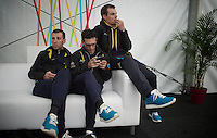 Vincenzo Nibali (ITA/Astana), Paolo Tiralongo (ITA/Astana) &amp; Luis Leon Sanchez (ESP/Astana) waiting for the pre-race team presentation (the day before the race)<br /> <br /> 102nd Li&egrave;ge-Bastogne-Li&egrave;ge 2016