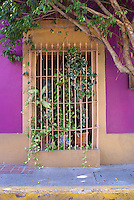 Colorful barred window of a restored nineteenth century house  in old Mazatlan, Sinaloa, Mexico