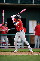 New Hampshire Fisher Cats shortstop Bo Bichette (5) at bat during the first game of a doubleheader against the Harrisburg Senators on May 13, 2018 at FNB Field in Harrisburg, Pennsylvania.  New Hampshire defeated Harrisburg 6-1.  (Mike Janes/Four Seam Images)