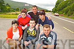 Mary, Stephen and Kieran O'Callaghan, Sheila Crowley, Mairead O'Donoghue and Brendan O'Brien, who are campaigning to improve the safety of the entrance to their homes off the main Cork Killarney road at Inch, Clonkeen...............................................................................................