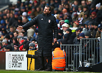 17th March 2018, Craven Cottage, London, England; EFL Championship football, Fulham versus Queens Park Rangers; Fulham Manager Slavisa Jokanovic shouting at this players from the touchline