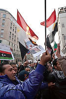 Milano, manifestazione a sostegno delle rivolte in Libia contro il governo di Muammar Gheddafi. Dei manifestanti bruciano una immagine di Gheddafi e Berlusconi --- Milan, demonstration in support of the revolts in Libya against the government of Muammar Gheddafi. Some demonstrators burn an image of Gheddafi with Berlusconi