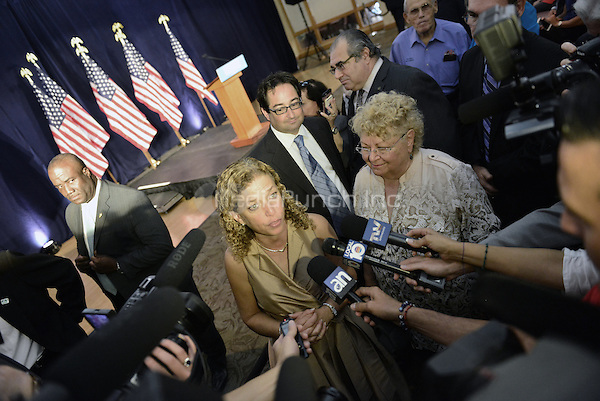 PEMBROKE PINES, FL - AUGUST 27: Congresswoman Debbie Wasserman Schultz attend Democratic vice-presidential nominee Tim Kaine meeting with Local Mayors and Elected Officials for a policy Meeting at Southwest Focal Point Senior Center on August 27, 2016 in Pembroke Pines, Florida.  Credit: MPI10 / MediaPunch
