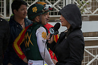 ARCADIA, CA  MARCH 10: Jockeys Javier Castellano and Mike Smith speak to a reporter while waiting to see who is named winner of the San Felipe Stakes (Grade ll) on March 10, 2018, at Santa Anita Park in Arcadia, CA.(Photo by Casey Phillips/ Eclipse Sportswire/ Getty Images)