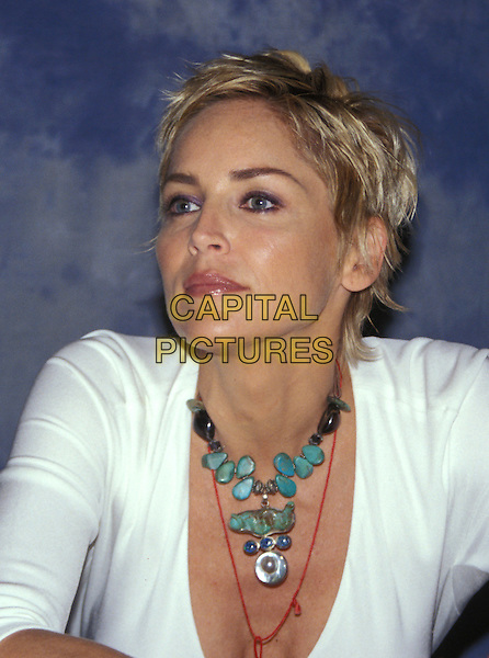SHARON STONE.headshot, portrait, necklace, jewellery.www.capitalpictures.com.sales@capitalpictures.com.© Capital Pictures.