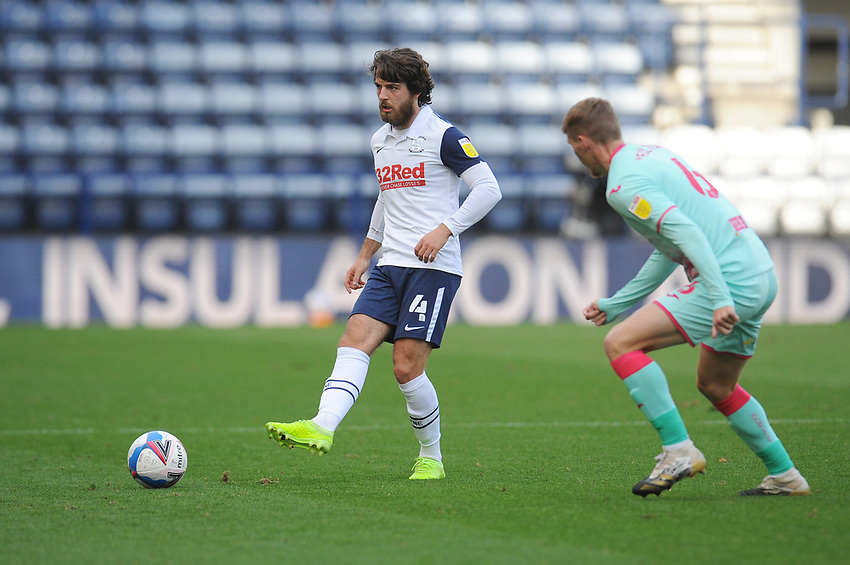 Preston North End's Ben Pearson under pressure from Swansea City's Jay Fulton<br /> <br /> Photographer Kevin Barnes/CameraSport<br /> <br /> The EFL Sky Bet Championship - Preston North End v Swansea City - Saturday September 12th 2020 - Deepdale - Preston<br /> <br /> World Copyright © 2020 CameraSport. All rights reserved. 43 Linden Ave. Countesthorpe. Leicester. England. LE8 5PG - Tel: +44 (0) 116 277 4147 - admin@camerasport.com - www.camerasport.com