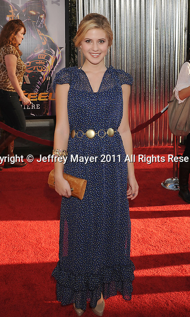 """UNIVERSAL CITY, CA - OCTOBER 02: Caroline Sunshine attends the """"Real Steel"""" Los Angeles Premiere at Gibson Amphitheatre on October 2, 2011 in Universal City, California."""