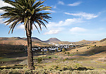 View over cactus plants and whitewashed houses to Monte Corona volcano cone, village of Haria, Lanzarote, Canary Islands, Spain