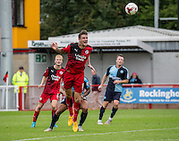 Sonny Bradley of Crawley Town clears the danger during the Sky Bet League 2 match between Crawley Town and Wycombe Wanderers at Checkatrade.com Stadium, Crawley, England on 29 August 2015. Photo by Liam McAvoy.