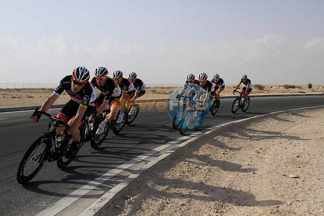 Radioshack-Nissan Trek team warms up before the 2nd Stage of the 2012 Tour of Qatar a team time trial at Lusail Circuit, Doha, Qatar, 6th February 2012 (Photo Eoin Clarke/Newsfile)