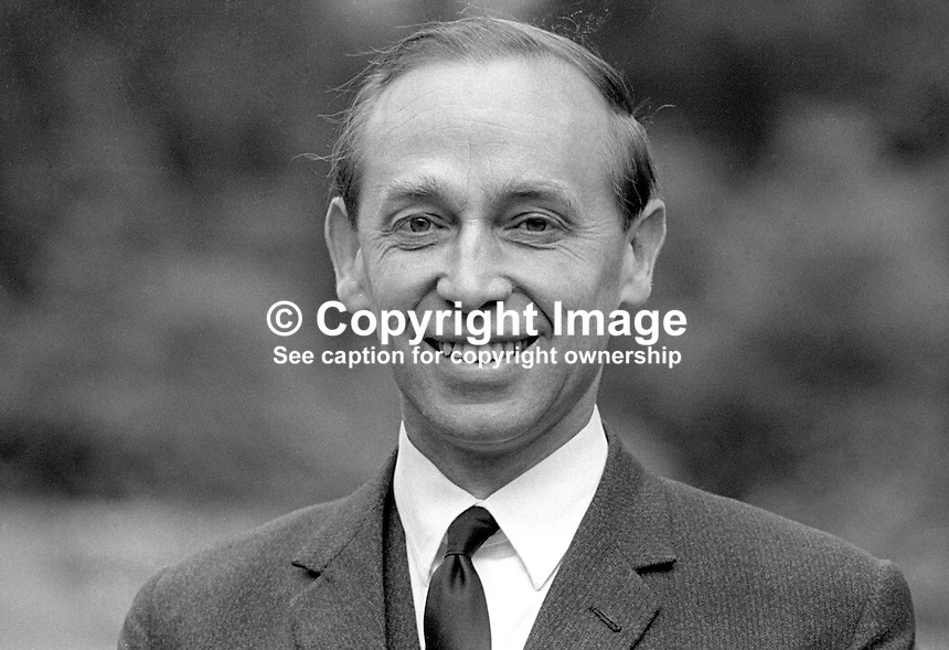 Stanley McMaster, Ulster Unionist, candidate, East Belfast, May 1970 UK General Election. 197005000201b<br /> <br /> Copyright Image from Victor Patterson, 54 Dorchester Park, Belfast, United Kingdom, UK.  Tel: +44 28 90661296; Mobile: +44 7802 353836; Voicemail: +44 20 88167153;  Email1: victorpatterson@me.com; Email2: victor@victorpatterson.com<br /> <br /> For my Terms and Conditions of Use go to http://www.victorpatterson.com/Terms_%26_Conditions.html