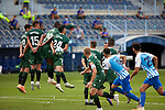 Eneko Boveda (RC Deportivo de la Coruna), Mujaid Sadick (RC Deportivo de la Coruna), Francisco Montero (RC Deportivo de la Coruna) and Vicente Gomez (RC Deportivo de la Coruna) attempt to block the freekick La Liga Smartbank match round 39 between Malaga CF and RC Deportivo de la Coruna at La Rosaleda Stadium in Malaga, Spain, as the season resumed following a three-month absence due to the novel coronavirus COVID-19 pandemic. Jul 03, 2020. (ALTERPHOTOS/Manu R.B.)