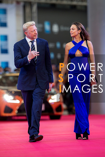 Boris Becker and his wife Sharlely walk the Red Carpet event at the World Celebrity Pro-Am 2016 Mission Hills China Golf Tournament on 20 October 2016, in Haikou, China. Photo by Victor Fraile / Power Sport Images