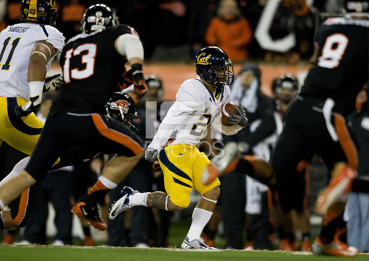 Isi Sofele of California runs the ball during the game against Oregon State Beavers at Reser Stadium in Corvallis, Oregon on November 17th, 2012.  Oregon State defeated California, 62-14.