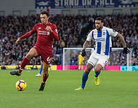 Liverpool's Trent Alexander-Arnold (left) under pressure from Brighton & Hove Albion's Jurgen Locadia (right) <br /> <br /> Photographer David Horton/CameraSport<br /> <br /> The Premier League - Brighton and Hove Albion v Liverpool - Saturday 12th January 2019 - The Amex Stadium - Brighton<br /> <br /> World Copyright © 2018 CameraSport. All rights reserved. 43 Linden Ave. Countesthorpe. Leicester. England. LE8 5PG - Tel: +44 (0) 116 277 4147 - admin@camerasport.com - www.camerasport.com