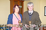 Teresa Conway who collect a Special Merit Award for Louise McKenna of St Micheal's, Lixnaw and Vincent Barry of St Mary's, Castleisland who received a Special Merit Award at the Kerry Senior Basketball awards at the Castle bar, Tralee on Friday.