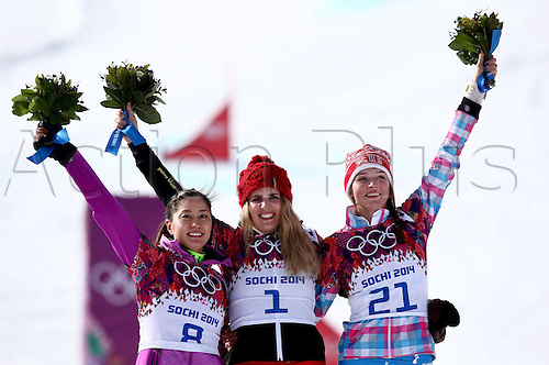 19.02.2014. Sochi, Russia.  Rosa Khutor   Sochi Winter Olympic Wiomens Giant Parallel Slalom Snowboarding.  Podium of the winners Tomoka Takeuchi (JPN, L), Patrizia Kummer (SUI, M) and Alena Zavarzina (RUS, R)