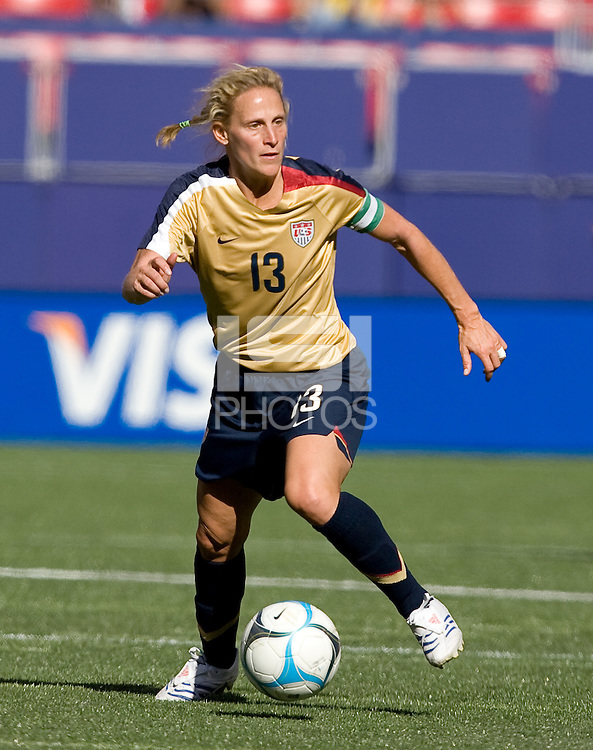 Kristine Lilly on the ball. USA defeated Brazil 2-0 at Giants Stadium on Sunday, June 23, 2007.