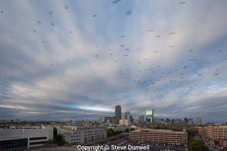 skyline clouds sunset from Northeastern U, Boston, MA