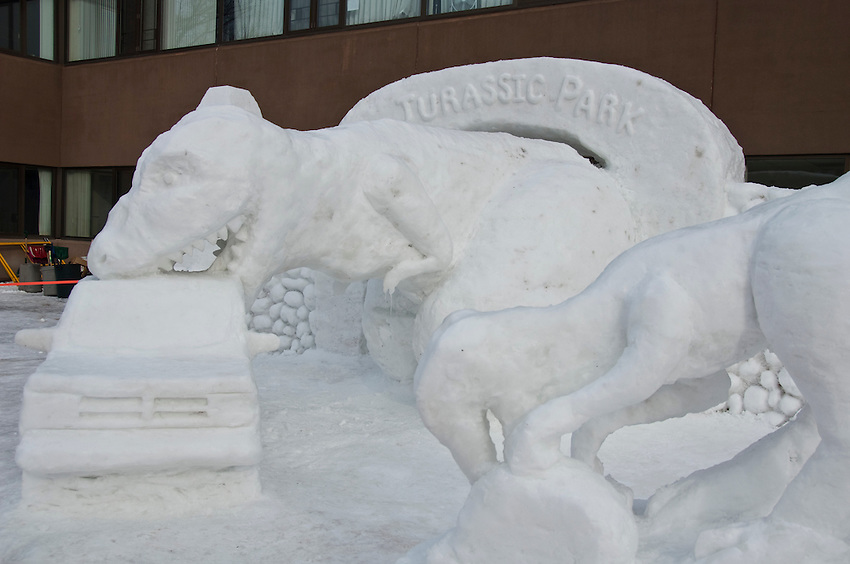A large snow sculpture built by students of Michigan Technological University in Houghton Michigan during the school's Winter Carnival.
