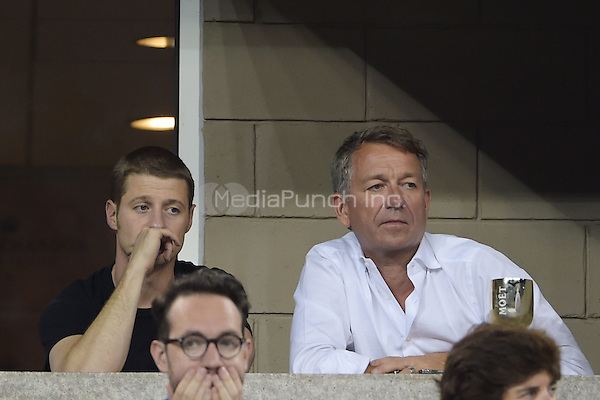 FLUSHING NY- AUGUST 30:  Ben McKenzie, Sean Pertwee are seen watching Eugenie Bouchard Vs Barbora Zahiavova Strycova on Arthur Ashe stadium at the USTA Billie Jean King National Tennis Center on August 30, 2014 in Flushing Queens. Credit: mpi04/MediaPunch
