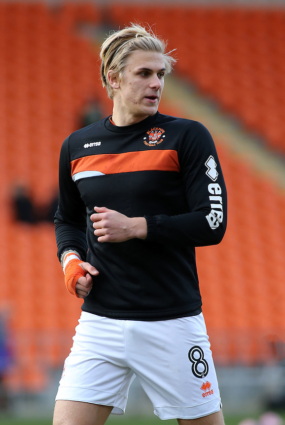 Blackpool's Brad Potts during the pre-match warm-up <br /> <br /> Photographer David Shipman/CameraSport<br /> <br /> The EFL Sky Bet League Two - Blackpool v Luton Town - Saturday 17th December 2016 - Bloomfield Road - Blackpool<br /> <br /> World Copyright &copy; 2016 CameraSport. All rights reserved. 43 Linden Ave. Countesthorpe. Leicester. England. LE8 5PG - Tel: +44 (0) 116 277 4147 - admin@camerasport.com - www.camerasport.com
