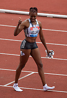 Daniel Williams (Jamaica) after winning the women's 100m hurdles final during the IAAF Diamond League Athletics Müller Grand Prix Birmingham at Alexander Stadium, Walsall Road, Birmingham on 18 August 2019. Photo by Alan  Stanford.